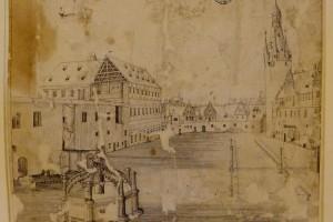 Christian Richter, Ansicht des Schlosshofes vom Nordflügel aus, Feder 1620