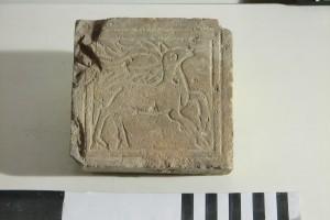 Bodenfliese mit Hirsch aus Ton, 13. Jahrhundert