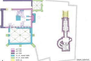 Grundriss des Judenhofs mit Synagoge und Mikwe